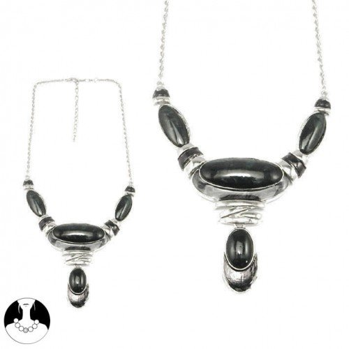 SG Paris Necklace 44Cm+Ext Rhodium Black Noir/Jet Necklace Necklace Resin Winter Women Fashion Metal Fashion Jewelry / Hair Accessories Z Others