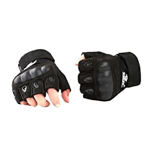 TopOutdoor 1 Pair Outdoor Sports Military Tactical Airsoft Hunting Fingerless Cycling Bike Gloves Black (M)