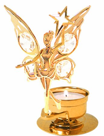 24K Gold Plated Fairy holding a Star Tea-Light..... With Clear Swarovski Austrian Crystal - 1