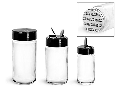 6 oz. Glass Jars, Clear Glass Paragon Jars w/ Black Ps 113 Lined Spice Caps (12 Jars) (Paragon Glass Jar compare prices)