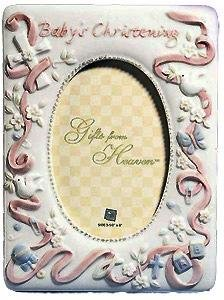 Special Pink Christening frame by Russ Berrie - 3.5x5