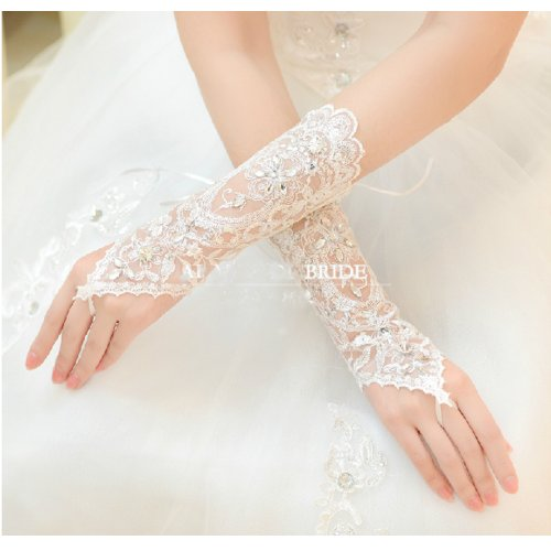 CIMC LLC Women's Opera Bridal Lace Fingerless Applique Wedding Gloves With Rhinestone, Ivory