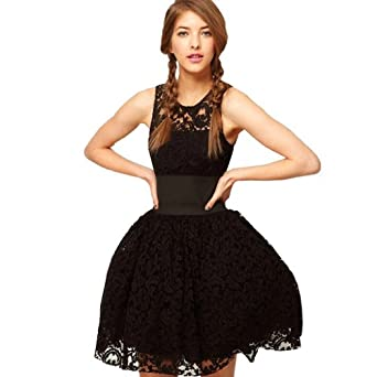 E--shopping Womens Black Tutu Party Tunic Lace Prom Cocktail Dress