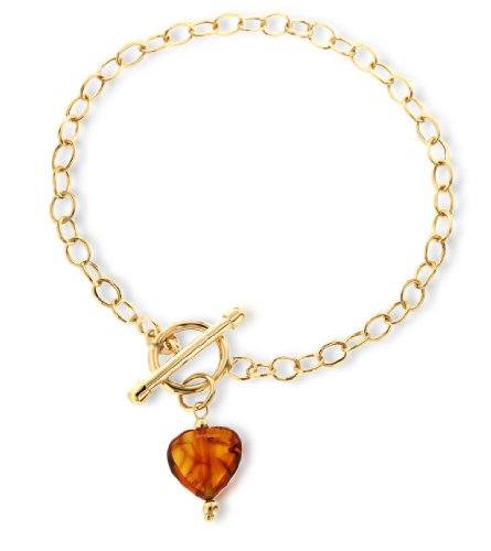 9ct Yellow Gold Amber Heart T-Bar Bracelet 19cm/7.5