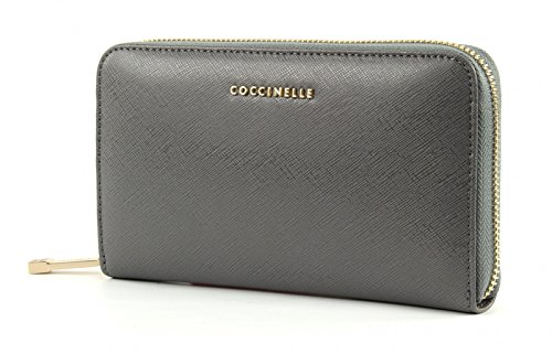 COCCINELLE Pelle Vitello Saffiano Zip Around Asphalt