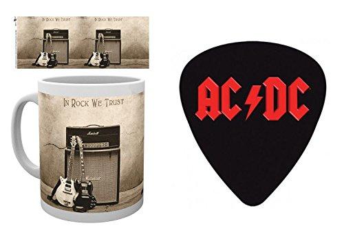 Set: AC/DC, Trust Rock Tazza Da Caffè Mug (9x8 cm) E 1 AC/DC, Sticker Adesivo (9x9 cm)