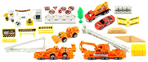 Supreme Construction Site 40 Piece Mini Diecast Toy Vehicle Playset w/ Variety of Vehicles, Accessories (Mini Toy Construction Cones compare prices)