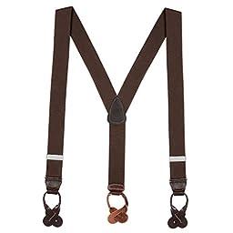 Suspender Store Mens Brown Suspenders - 1.5 Inch Wide Button 48 IN Brown