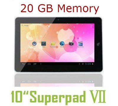 2012 model 10 inch 10.2″ Tablet PC Flytouch Superpad 7 Latest Android 4.0.4 ICS Ice Cream Sandwich HDMI output 1GB DDR3 Allwinner CPU processor 1.2GHZ Massive 20 GB Built-in Memory GPS