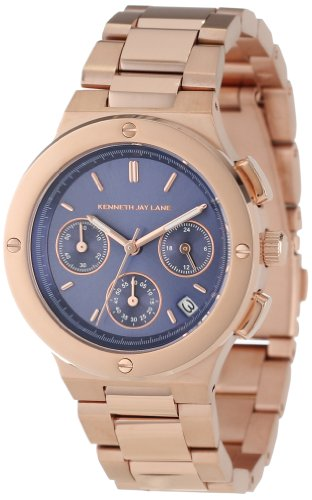 Kenneth Jay Lane Women's 2125 Chronograph Blue Sunray Dial Rose Gold Ion-Plated Stainless Steel Watch