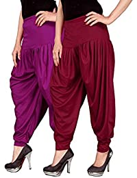 Navyataa Women's Lycra Dhoti Pants For Women Patiyala Dhoti Lycra Salwar Free Size (Pack Of 2) Purple & Maroon