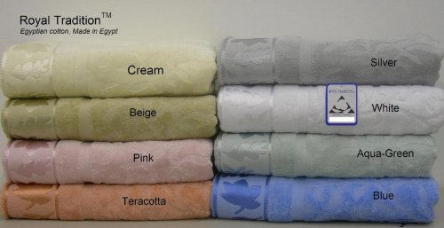 6 Pc Luxury Egyptian Cotton Jacquard Combed Towel Set Jade front-1057580