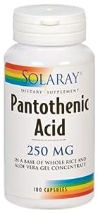 Solaray Pantothenic Acid Capsules, 250 mg, 100 Count