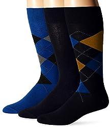 Jockey Men's Argyle 3 Pack Sock, Deep Sky Fashion, 10-13/Shoe Size 6-12