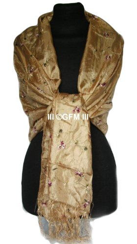 Beautiful Thai Silk-Mix (Gold) Embroidered Summer Scarf Wrap Stole Shawl Sarong or Pashmina (code: THSK)