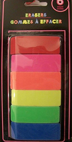 Neon Eraser 6 Pack (Bar Erasers) - 1