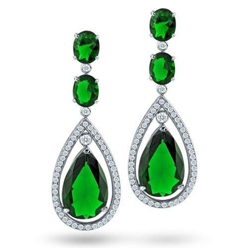 Bling Jewelry Emerald Green Color CZ Silver Oval Double Teardrop Chandelier Earrings 2.75 in