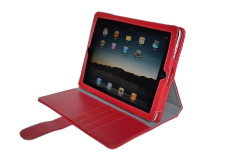 Apple iPad PU Leather Portfolio / Adjustable Stand Combo Carrying Case for Apple iPad 3G Wifi 16GB 32GB 64GB (RED COLOR) SPECIAL HOLIDAY PROMO PRICE. Guaranteed The Best Case for Your iPad!