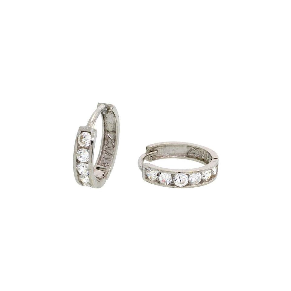 10k White Gold Hoop Earrings w/ CZ Stones, 1/2 in. (13mm