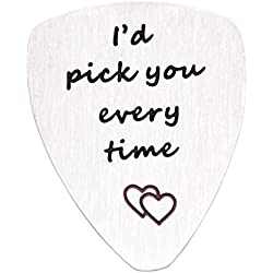 O.RIYA Christmas Gifts I'd Pick You Every Time Guitar Pick, Musical Gift, Anniversary Date, Unisex Gift, Music, Father's Day, Valentine's Day, Men, Gift for Him