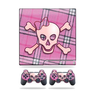 Protective Vinyl Skin Decal Cover for Sony Playstation 3 PS3 Slim Skins + 2 Controller Skins Sticker Pink Bow Skull
