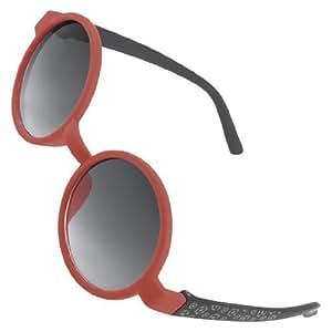 Child Red Black Full Frame Single Bridge Round Shaped Lens Sunglasses