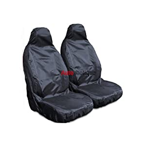 MERCEDES SLK (+) 2 PCE HEAVY DUTY BLACK WATERPROOF SEAT COVERS 1-1