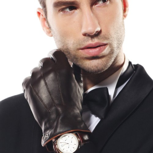 Luxury Men's Touchscreen/texting Winter Italian Nappa Leather Gloves (Plush/cashmere Lining)