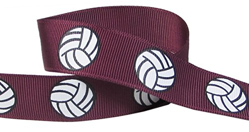 HipGirl Brand Printed Grosgrain Ribbon,  5 -Yard 7/8-Inch Volleyball Up Close,  Maroon (Burgundy)
