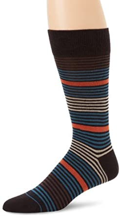 BOSS HUGO BOSS Men's Multicolored Microstripe Mid Calf Dress Sock, Brown, One Size