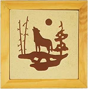 """Wolf Stoneware Counter Or Table Hot Plate Dish Pot Holder With Natural Colors 7.5"""""""