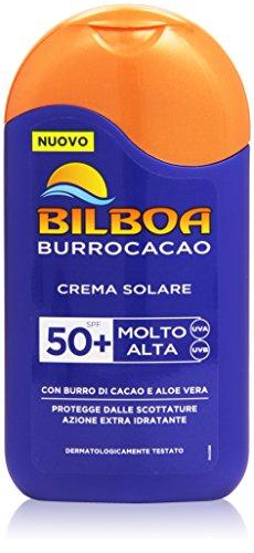 Bilboa - Crema Solare, Protegge dalle Scottature, Azione Extra Idratante, con Burro di Cacao e Aloe Vera, Molto Alta, SPF 50+ -  200 ml