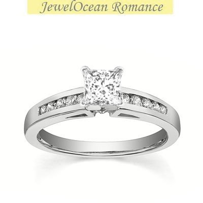 0.58 Carat Cheap Engagement Ring with Princess cut Diamond on 14K White gold