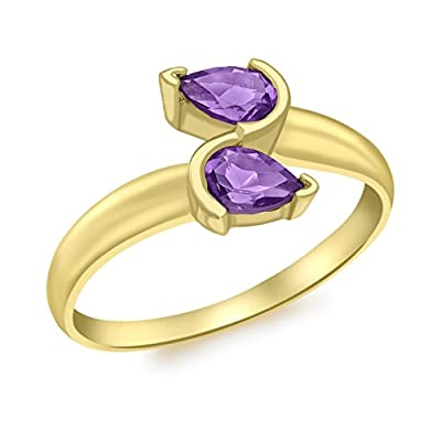 Carissima Gold 9 ct Yellow Gold Amethyst Cross Over Ring