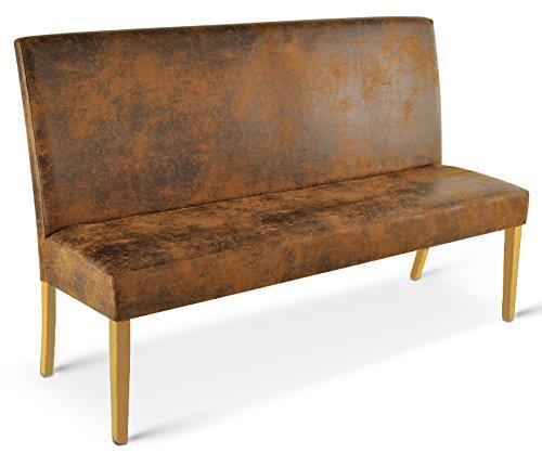 SAM® Sitzbank Sergio 160 cm in Wildlederoptik, Stoff mit buche-farbigen Beinen aus Pinien-Holz, Bank mit Rückenlehne in zeitloser Optik, gepolsterte Essbank für angenehmen Sitzkomfort