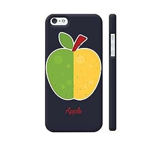 Colorpur Yellow Green Apple On Black Designer Mobile Phone Case Back Cover For Apple iPhone SE   Artist: Designer Chennai