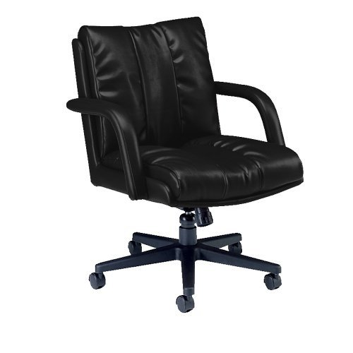 Global 3967BK450550 Series Leather Low-Back Swivel and Tilt Chair with Arms, Black
