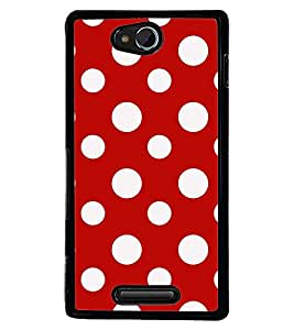 Printvisa Red And White Polka Dot Pattern Back Case Cover for Sony Xperia C::Sony Xperia C HSPA+ C2305