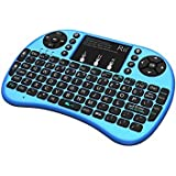 Rii 10112-3 i8+ Bluetooth Mini Wireless Keyboard with Touchpad Mouse, LED Backlit, Rechargeable Li-ion Battery-Blue (i8+B) (Color: blue)