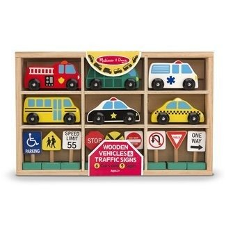 Wooden vehicles and traffic signs, Sold as 1 Each
