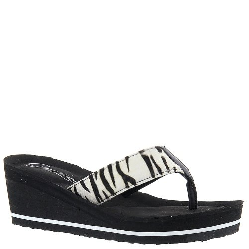Grazie Women'S Iriomote Wedge Sandal,Black/White/Zebra,7 B Us front-903849