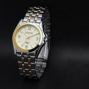 Classic Stylish Gold Steel Band Wrist Watch,Nice Waterproof Luminous Quartz Gift Watch For Men- White