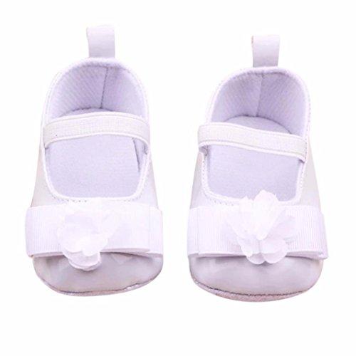Clode® Infante Ragazze Fiori Morbido Fiocco Sole Baby Shoes Pattini del Bambino (Misura Scarpa: 11 centimetro, Bianca)