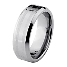 buy *Laser Engraving Service* 8Mm Bevelved Edge 2 Laser Engraved Lines Tungsten Carbide Comfort-Fit Wedding Band Ring (Size 5 To 15) - Size 13