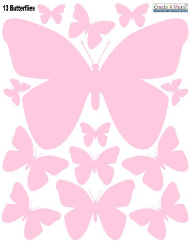 Butterfly Wall Decals- Soft Pink Peel & Stick Wall Appliques' for Girls Room Decor - 1