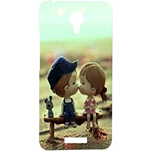Casotec Love Couples Pattern Design Hard Back Case Cover for Micromax Canvas Spark Q380