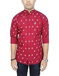 AA' Southbay Men's Maroon Printed Mandarin Collar Long Sleeve Party Casual Shirt