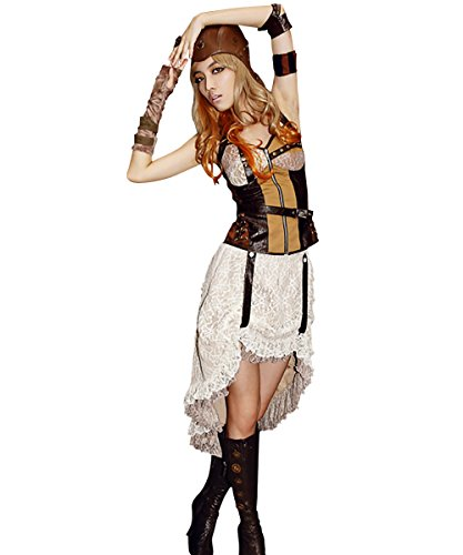 Steampunk Lolita Skirt Gothic Punk Clothing Pirate Renaissance Costume White Lace (Wonder Woman Sequin Skirt Costume)