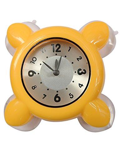 Suction Clock, Higoo(tm) Water Vapor Resistance Mini Clock Strong Suction Cup Wall Clock Glass Tile Wall Window Mirror Bath Shower Clock Watch (Yellow)