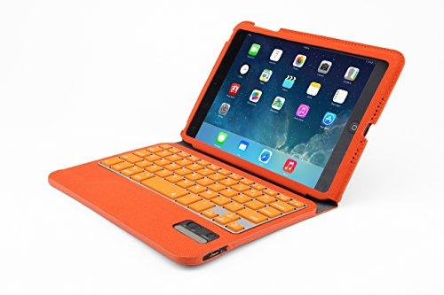Golden iPad mini /iPad mini Retina専用 Bluetooth3.0 タブレットキーボード付ケース ノートパソコンに変身 キーボード付ケースレザーケース (オレンジ)